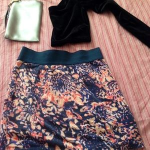 Free People Floral Mini Bodycon Skirt